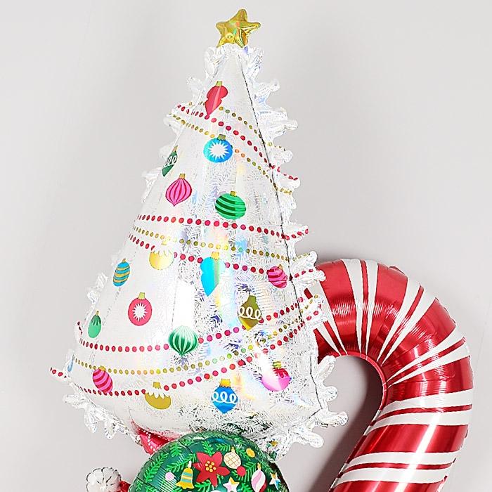 은박풍선 크리스마스트리 화이트 홀로그래픽