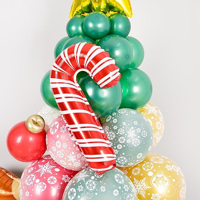 은박풍선 크리스마스 지팡이 미니쉐입 [공기주입전용]