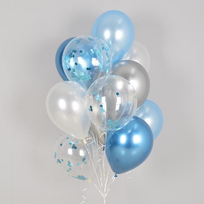 컨페티 헬륨풍선 리플렉스 블루톤 10개묶음