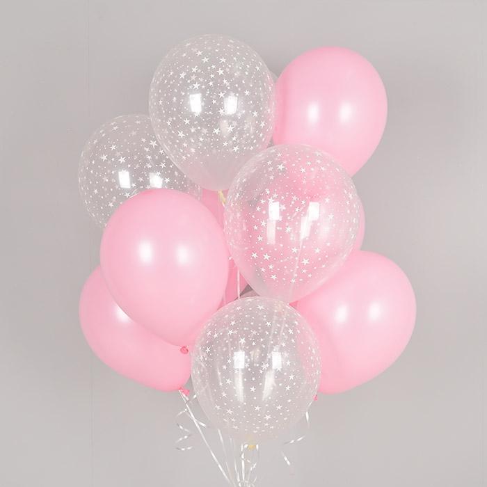 헬륨풍선 스타앤 핑크 10개묶음