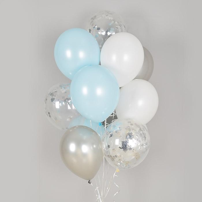 컨페티 헬륨풍선 실버스타앤 블루 혼합 10개묶음