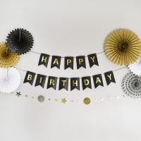 [조이파티] 글리터 생일파티장식세트 블랙앤 골드