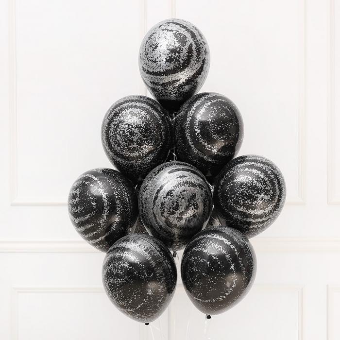 헬륨풍선 그래피티 메탈릭실버 블랙 10개묶음
